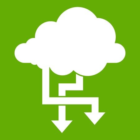 Cloud and arrows icon green Illustration