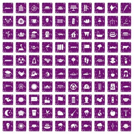 100 lotus icons set grunge purple Illustration