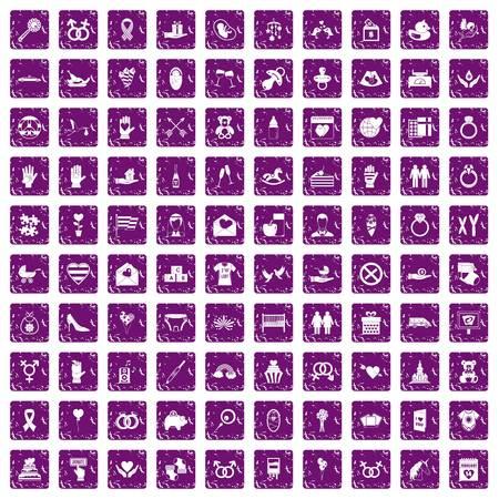 100 love icons set grunge purple Illustration