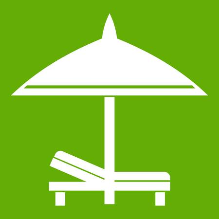 Bench and umbrella icon green