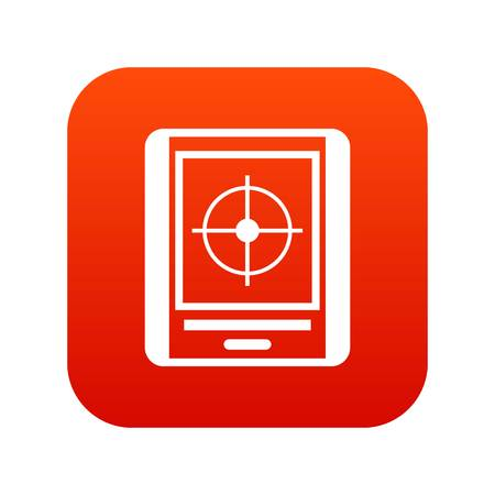 Radar icon digital red Illustration