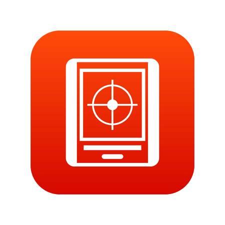 submarino: Radar icono digital rojo
