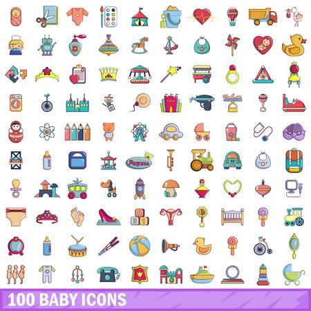 100 Iconos De Jardín De Infantes Establecidos, Estilo De Dibujos ...