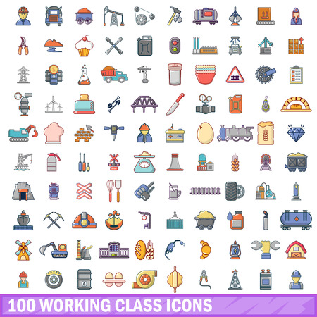 100 working class icons set in cartoon style for any design vector illustration Illustration