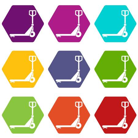 Hand truck icon set many color hexahedron isolated on white vector illustration Illustration