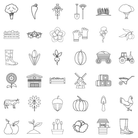 Seed icons set. Outline style of 36 seed vector icons for web isolated on white background Ilustracja