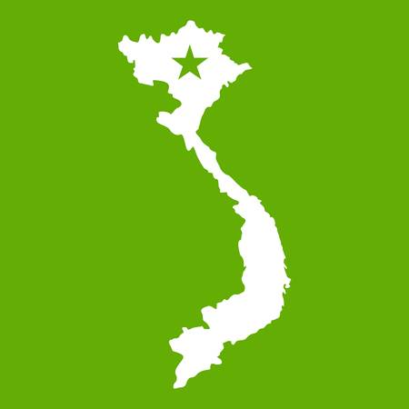 Vietnam map icon white isolated on green background. Vector illustration Illustration