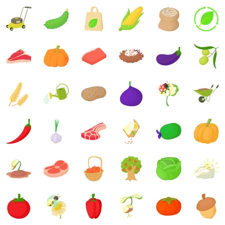 cartoon tomato: Pumpkin icons set, isometric style
