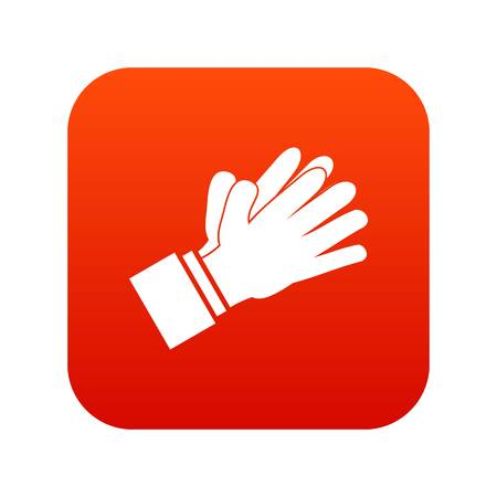 Clapping applauding hands icon digital red Illustration