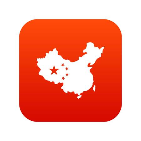 Map of China icon digital red Illustration