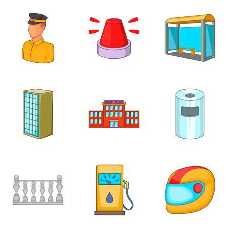 Conjunto de iconos de hostelería, estilo de dibujos animados