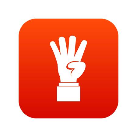Hand showing number four icon digital red