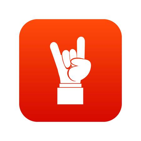 Rock and Roll hand sign icon digital red on plain background.