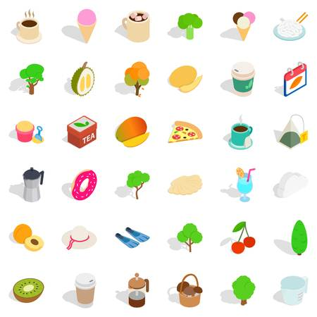 Berry icons set, isometric style on plain background. Illustration