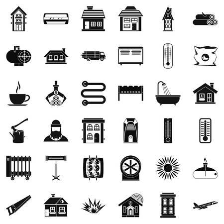 Radiator icons set, simple style Vektoros illusztráció