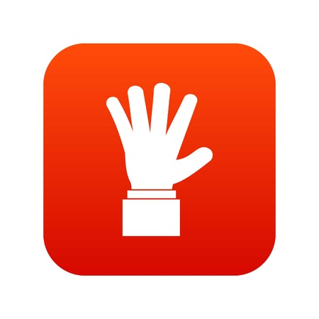 hi five: Hand showing five fingers icon digital red Illustration