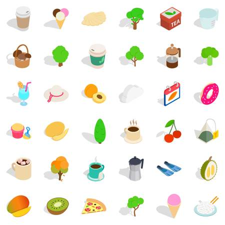 Artistic icons set, isometric style on plain background.