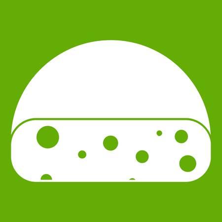 cheddar: Dutch cheese icon green on plain background. Illustration