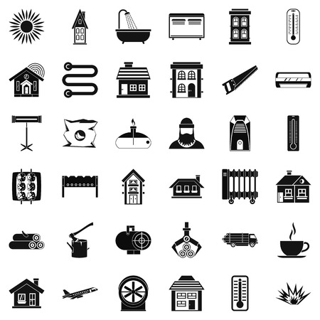 Warm icons set. Simple style of 36 warm vector icons for web isolated on white background