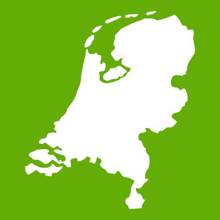Holland map icon white isolated on green background. Vector illustration Illustration