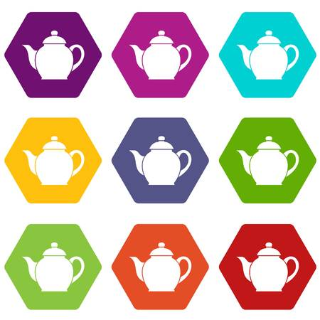 Teapot icon set many color hexahedron isolated on white vector illustration