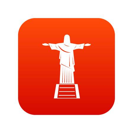 The Christ the Redeemer statue icon digital red for any design isolated on white vector illustration