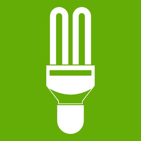 Fluorescent lamp icon in green background. Illustration