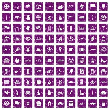 100 icônes de moulin dans la couleur pourpre de style grunge isolé sur illustration vectorielle fond blanc