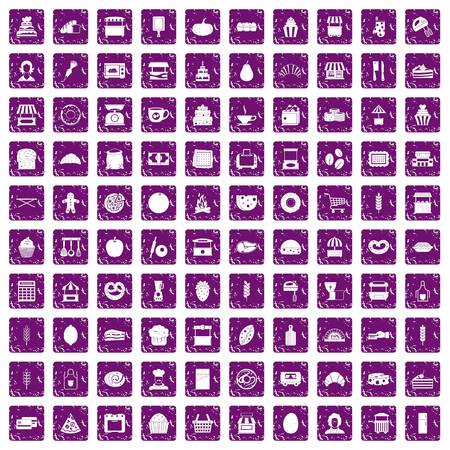 100 bakery icons set in grunge style purple color isolated on white background vector illustration