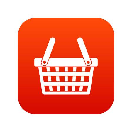 Shopping basket icon digital red for any design isolated on white vector illustration
