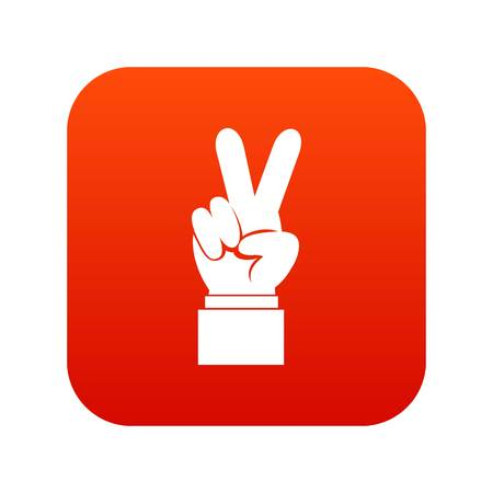 Hand with victory sign icon digital red for any design isolated on white vector illustration Illustration