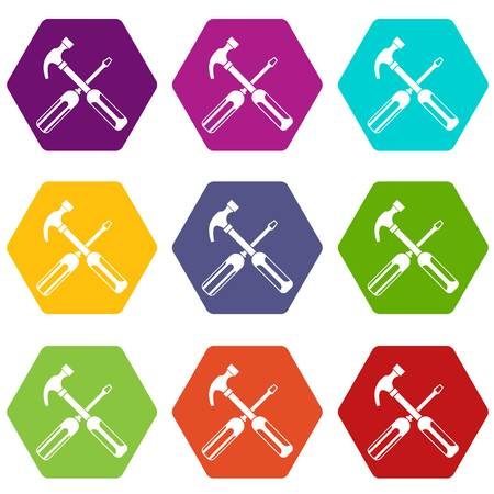 Hammer and screwdriver icon set color hexahedron