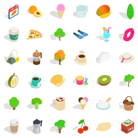 Hot drink icons set. Isometric style of 36 hot drink vector icons for web isolated on white background Illustration