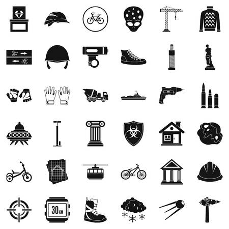 Project icons set. Simple style of 36 project vector icons for web isolated on white background