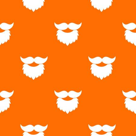 seamless clover: Beard and mustache pattern repeat seamless in orange color for any design. Vector geometric illustration