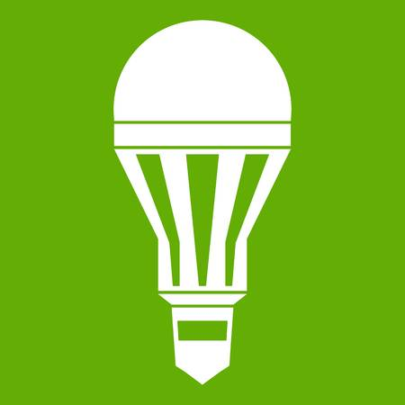 Led bulb icon white isolated on green background. Vector illustration