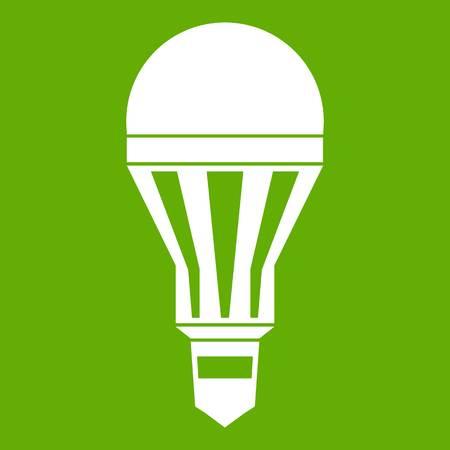 Led bulb icon white isolated on green background. Vector illustration