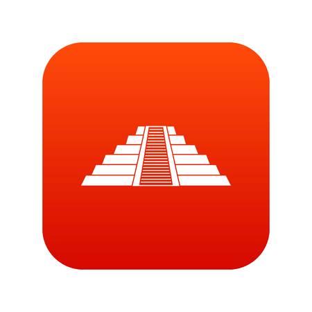 Ziggurat in Chichen Itza, Yucatan icon digital red for any design isolated on white vector illustration