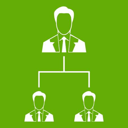 Company structure icon white isolated on green background. Vector illustration Illustration