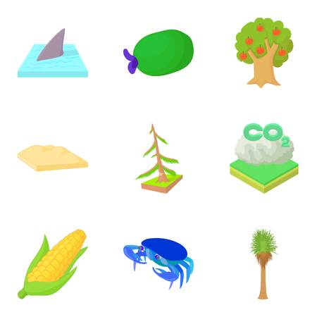 the greenhouse effect: Greenhouse effect icons set. Cartoon set of 9 greenhouse effect vector icons for web isolated on white background Illustration