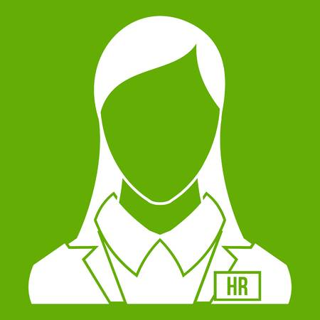 HR management icon white isolated on green background. Vector illustration Illustration