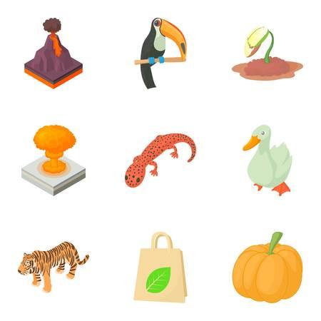 Threat to nature icons set, cartoon style. Illustration