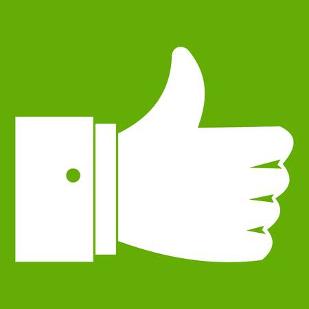 validation: Thumb up gesture icon white isolated on green background. Vector illustration