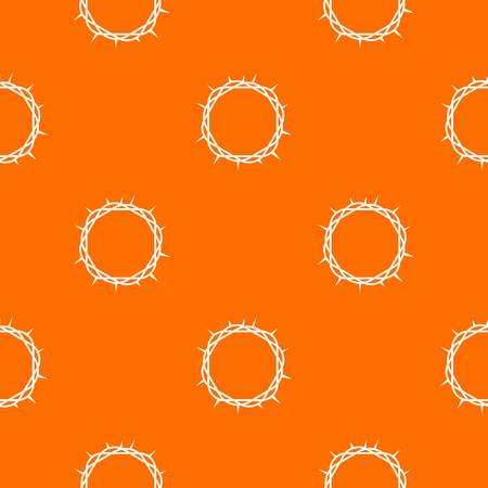 Crown of thorns pattern repeat seamless in orange color for any design. Vector geometric illustration