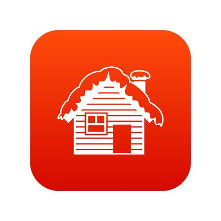 Wooden house covered with snow icon digital red for any design isolated on white vector illustration