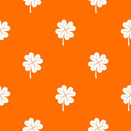 Clover leaf pattern repeat seamless in orange color for any design. Vector geometric illustration