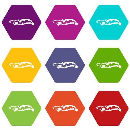 Anarhichas fish icon set many color hexahedron isolated on white vector illustration