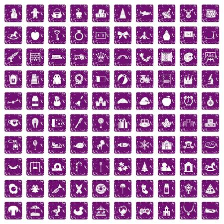 100 nursery school icons set in grunge style purple color isolated on white background vector illustration