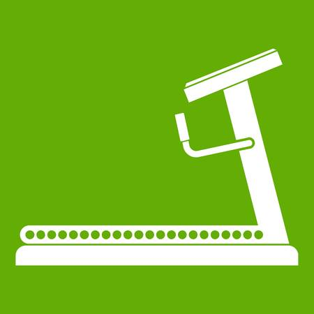 Treadmill icon white isolated on green background. Vector illustration