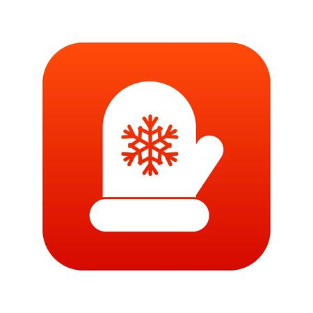 Mitten with white snowflake icon digital red for any design isolated on white vector illustration Illustration